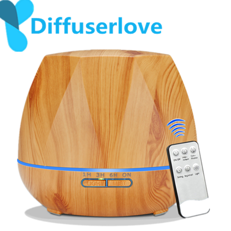Diffuserlove 500ML Remote Control Electric Aroma Air Diffuser Ultrasonic Air Humidifier Essential Oil Aromatherapy Cool Mist Mak