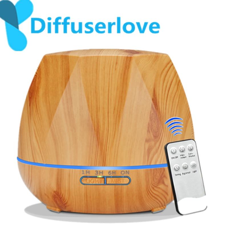 Diffuserlove 500 ML Controle Remoto Elétrico Aromaterapia Óleo Essencial Umidificador de Ar Aroma Difusor de Ar Ultra Névoa Fria Mak