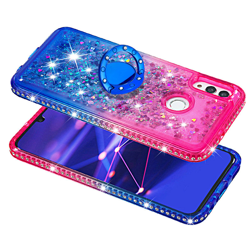 Bling Diamond Liquid Quicksand Cases for Huawei Mate 20 pro Mate 20 lite Ring Holder Gradient Back Coque for Huawei honor10 lite - 6