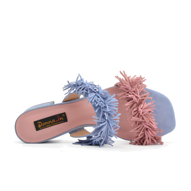 Donna-in 2017 New Arrival Genuine Suede Shoes Fashion Simple Style Tassel decoration Summer Ladies Sandals