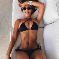 2018 Woman Sexy Black Swimwear Cross Brazilian Bikinis Set Beach Bathing Suit Bandage Female Bather Swimsuits