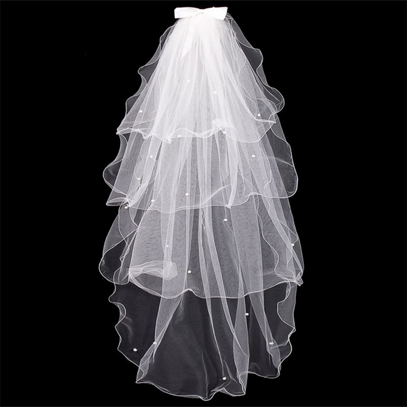 Bowknot Wedding Veil Simple Tulle White Ivory Four Layers Bridal Veil Cheap Bride Accessories Tulle Edge Beaded Veil NO Comb