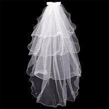 цена на Bowknot Wedding Veil Simple Tulle White Ivory Four Layers Bridal Veil Cheap Bride Accessories Tulle Edge Beaded Veil NO Comb