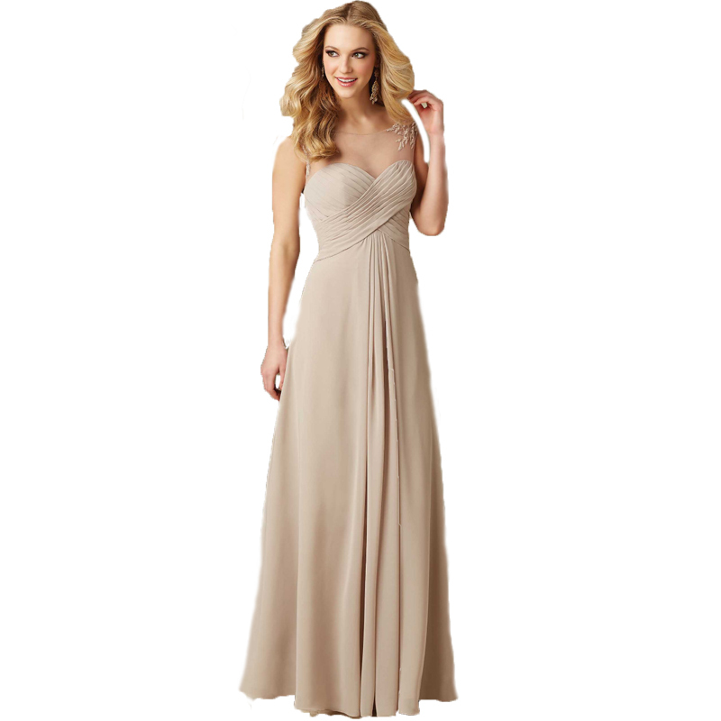 Cheap Bridesmaid Dresses A Line Long Champagne Sheer Cap Sleeves V Neck Chiffon Wedding Party Dresses Plus Size