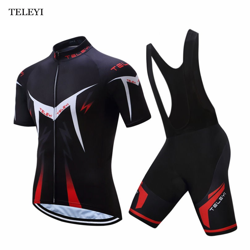 2017 TELEYI Men Cycling Bike Ropa Ciclismo Short Sleeve Clothing Set Bicycle Wear Suit Jersey Pad Bib Shorts S-4XL life on track men s compression riding underwear set long sleeve suit workout bicycle clothing set