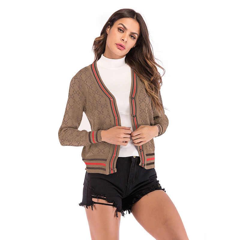 Осенний однобортный клетчатый кардиган для женщин Blusa de Frio Feminina Полосатый Элегантный весенний черный приталенный вязаный свитер для женщин