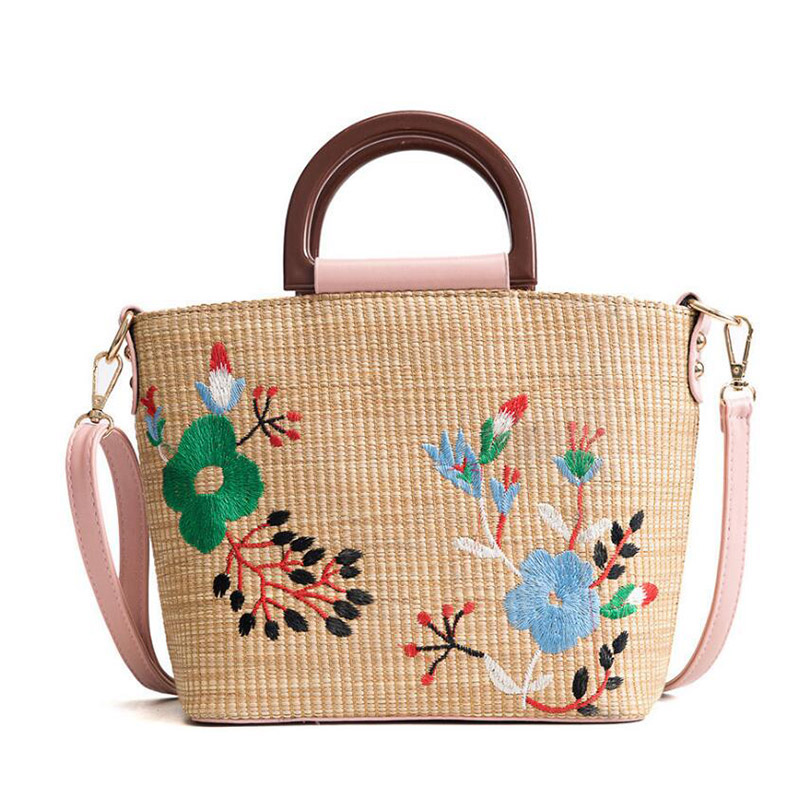Rattan Handbags Beach-Bag Square Large Messenger-Bags Straw Woven Female Natural Summer