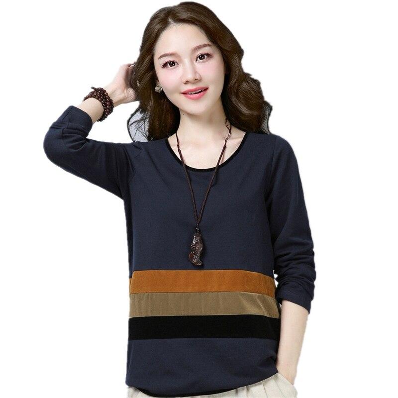 Printemps automne à manches longues t-shirt haut pour femme grande taille o cou t-shirt décontracté chemise contraste couleur patchwork mode dames t-shirt