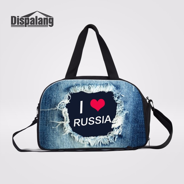 7d8926ce9af9 Dispalang I LOVE RUSSIA Letters Printing Travel Bags For Trips Denim  Pattern Multifunctional Travel Hand Luggage