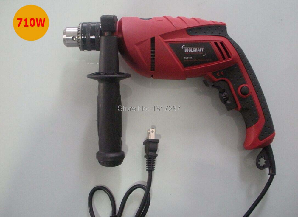 13mm impact drill 110v 120v 127v 60hz  710w professional grade electric hand drill steel-13mm concret-16mm wood 25mm high power electric 13mm impact drill multi function open whole electric 710w carved wood molding type strong drill