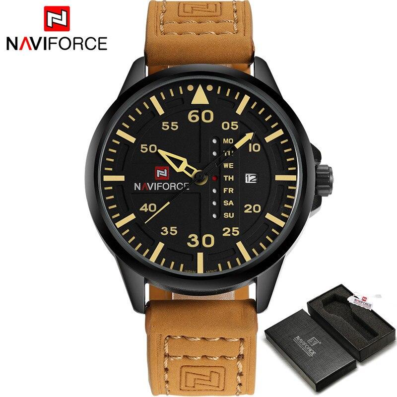 Prix pour Naviforce montres hommes marque de luxe en cuir de quartz hommes montre casual sport homme horloge hommes calendrier montre-bracelet relogio masculino