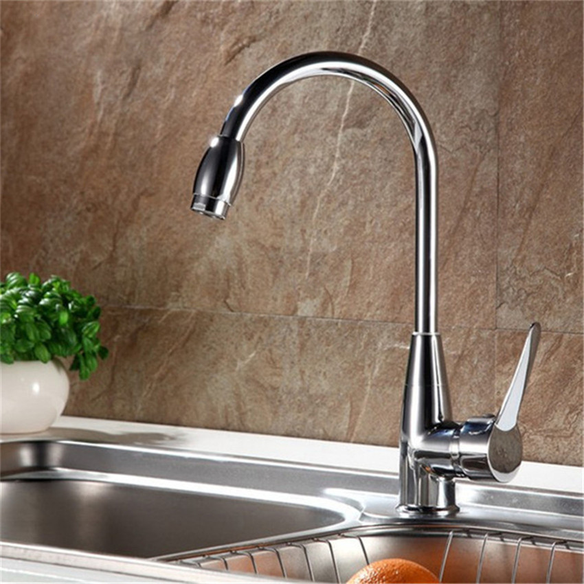 Kitchen Faucet Superior in Quality Kitchen Faucet Chrome Polished Basin Faucet Hot and Cold Water Swivel