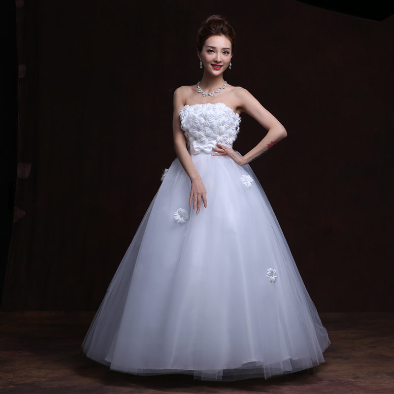 2016 white lovely court style good big size pregnant women for Big white wedding dresses