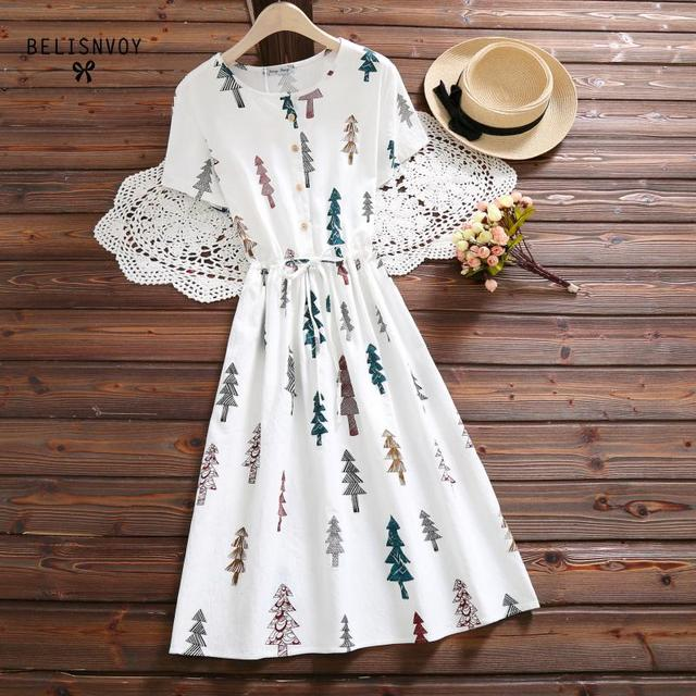 8855107c77f8 Mori Girl Cotton Linen Vintage Summer Women Clothing O Neck Tree Printed  Dress Short Sleeve Loose