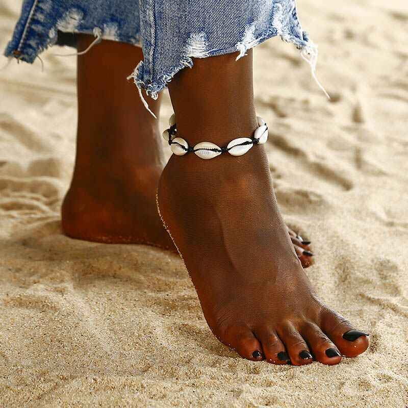 Bohemian สำหรับผู้หญิง Vintage กำไลข้อมือสร้อยข้อมือขา Beach Ocean Shell Heart สัตว์ขาเท้าเครื่องประดับ 2019