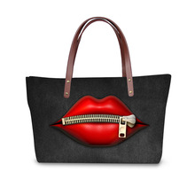 цены на Handbag for Women 2019 Bags Shoulder Bag Beach Bag Red lip Print Pattern Design Tote Bolso в интернет-магазинах