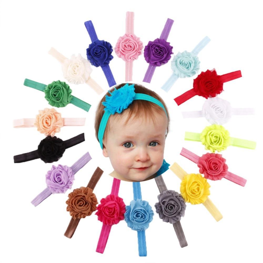 Shabby Baby Headband Chic Flower Girls Headband Hair Bow Flower Headband for Baby Girl Children Hair Accessoriesbaby hair band