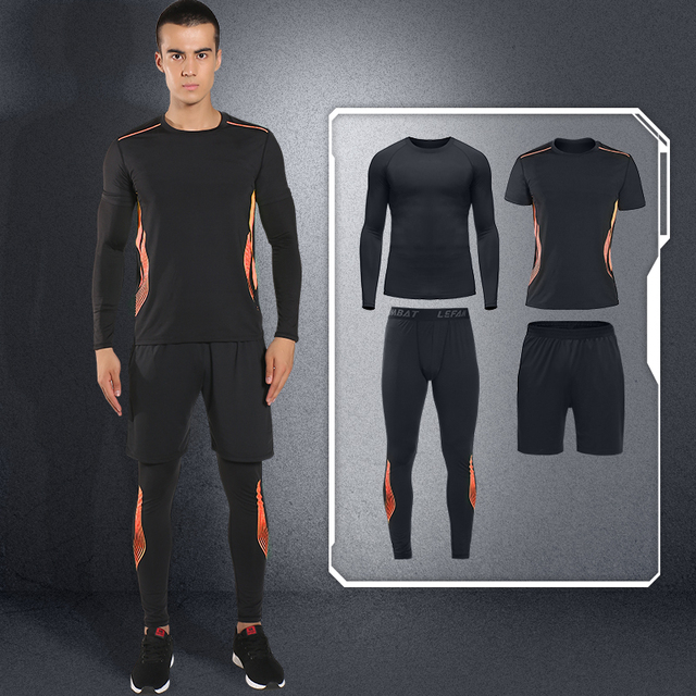 LEFAN Sport Suits Men Elastic Quick-dry Running Basketball Fitness Sets Male Training Sportswear Clothes Gym Workout Sets 4pcs