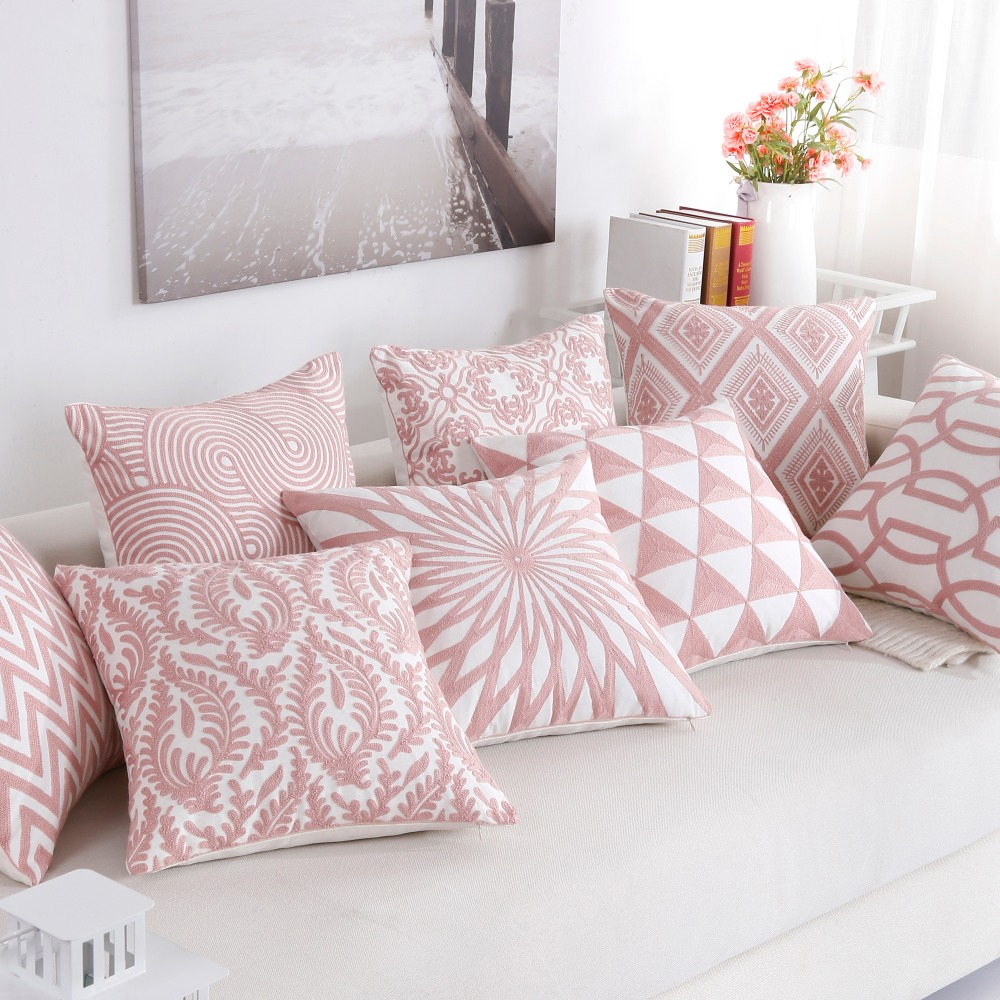 Nordic Style Thick Cushion Cover Fashion Pink Embroidery Geometric Pillow Cover 45cm 45cm Home Office Cushion