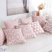 Nordic Style Thick Cushion Cover Fashion Pink Embroidery Geometric Pillow Cover 45cm*45cm Home Office Cushion Cover Car pillows цены