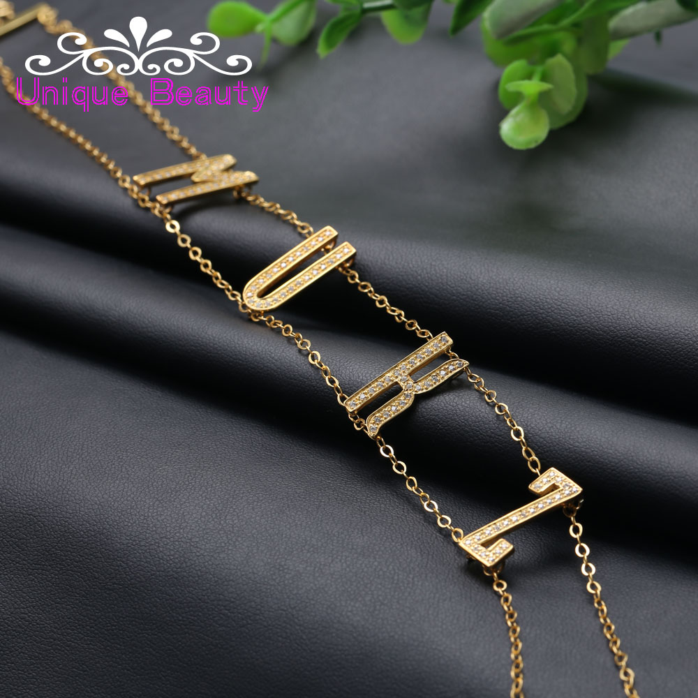 Wholesale Choker Necklace with Big Letter Customized 925 Solid Silver Name Necklace Full Zircon Statement Necklace coin fringe statement choker necklace