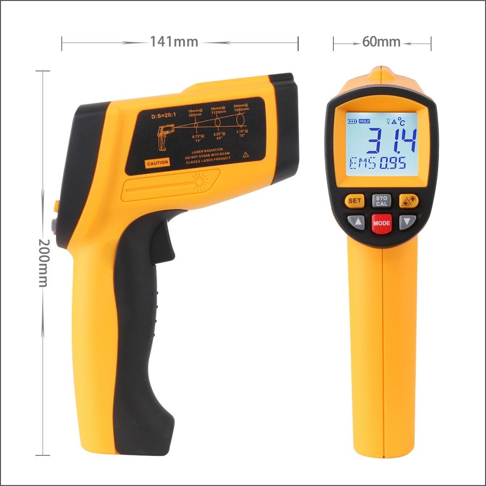 Image 5 - RZ Цифровая ручная пушка Бесконтактный инфракрасный термометр  лазерный пирометр профессиональный промышленный температурный пистолет  ИК измерительПриборы для измерения температуры   -