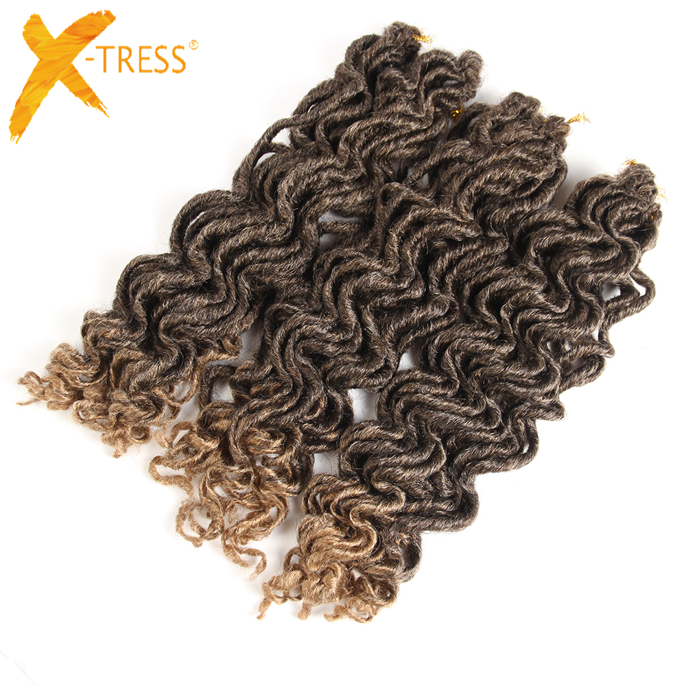 X-TRESS Faux Locs Curly Crochet Braids Twist Hair Synthetic Ombre Black Brown Hair Braiding Extension Dreadlocks 18'' 6packs/lot