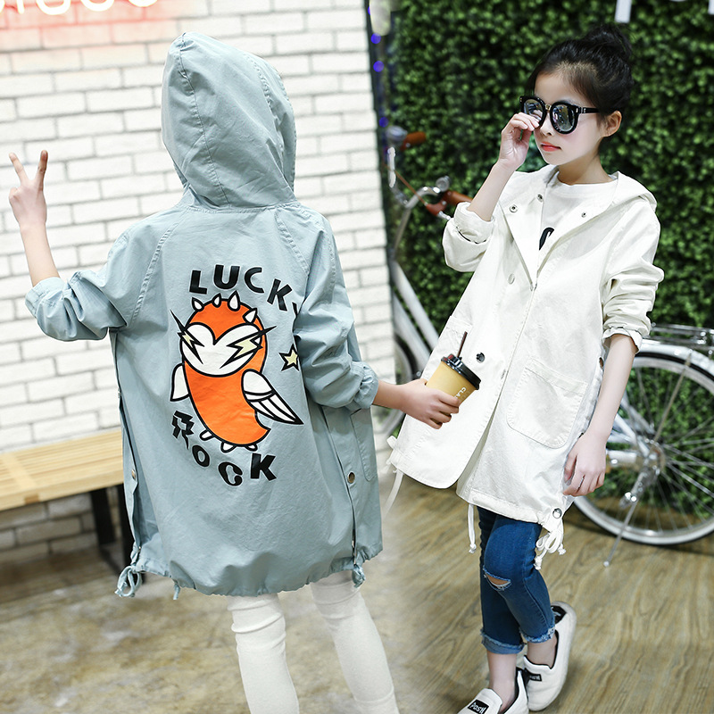 WEIXU Childrens Windbreaker For Girls Fashion Kids Spring Autumn Cartoon Bird Outerwear Jacket Teenager Hooded Long Trench Coat