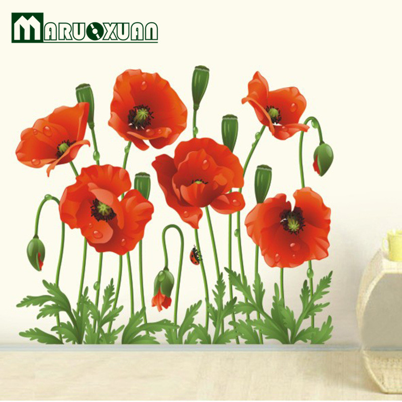 sale barato de amapola roja extrable tatuajes de pared decoracin arte flor vinilo pegatinas pared del