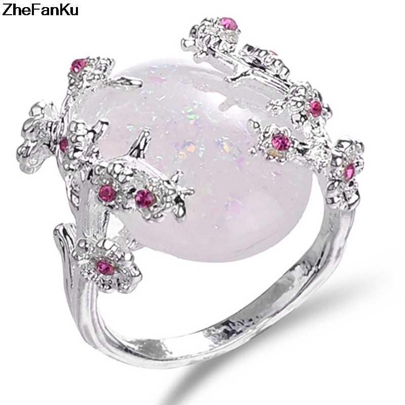 Красивое дерево и кольцо в виде цветка, ювелирное изделие, Черное золото заполнены Романтический CZ Большой белый огонь опал кольца для женщин дропшиппинг полосы кольцо