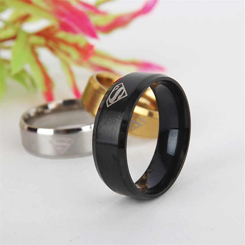 Classic Superman Women Stainless Steel Ring For Men Gold Black Rings For Men Silver Rings Male Metal Jewelry Boyfriend Gift
