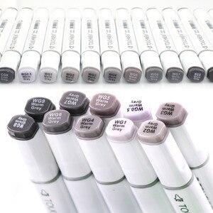 Image 2 - Touchnew markery alkoholowe pióro 30 kolorów markery w skali szarości markery szkicowe artysta alkohol podwójne długopisy markery z podstawą alkoholu Manga