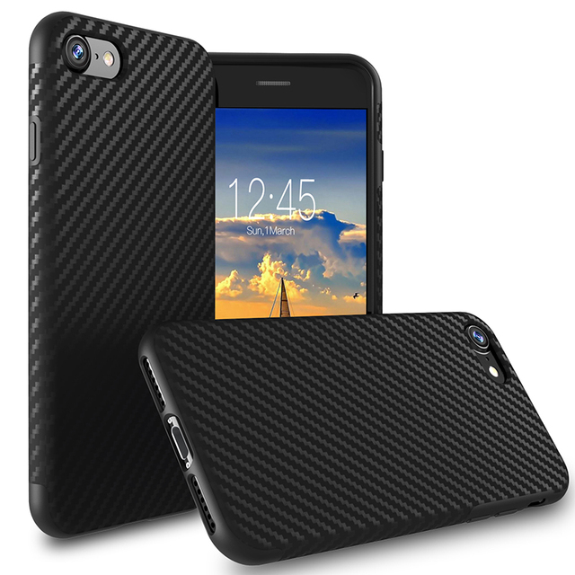 Myriann Carbon Fiber Case For iPhone 8/8plus Thin Back Soft Cover for iPhone x