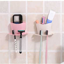 High Quality toothbrush Storage Rack Wall Mounted Cup in Shower Room Hanger Cup Toothpaste Storage Rack Holder Wall Mount Cup