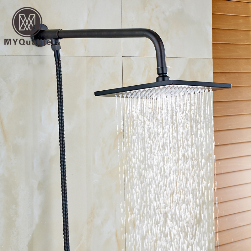 Oil Rubbed Bronze 8 Square Brass Shower Head + Wall Mounted Shower Arm Holder + 150cm Stainless Steel Shower Hose led light 12 brass rain shower head wall mount shower arm bathroom round shower head oil rubbed bronze