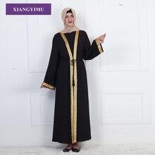 F811 Gold Stamping Printing Muslim Women Dubai Abaya Black Robe Long Sleeve Cardigan