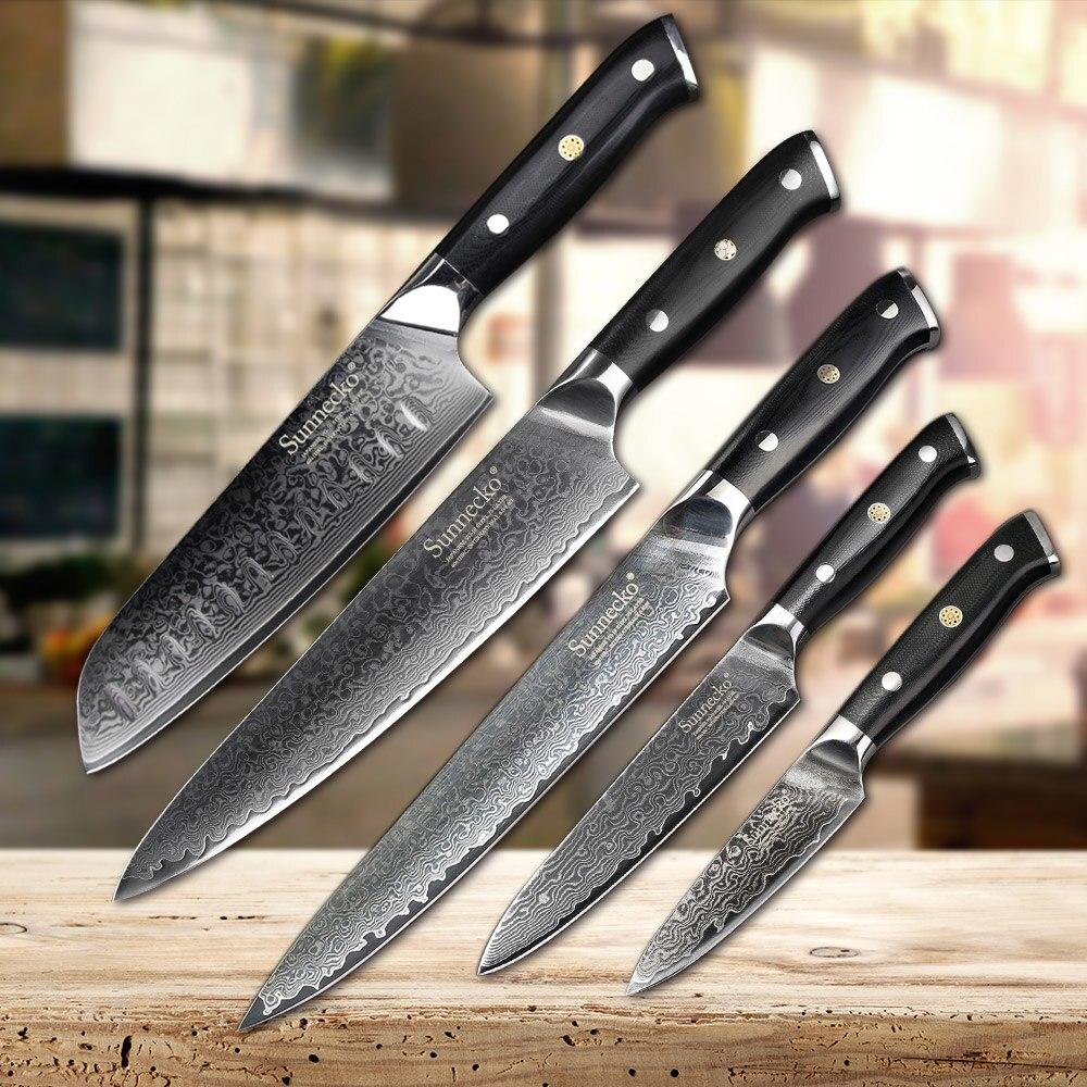 SUNNECKO 5 pz Set di Coltelli Da Cucina Affettatrice Chef lama di Sbucciatura di Damasco Giapponese VG10 Acciaio Inox chef set di coltelli Santoku di Utilità di Strumenti di Cottura