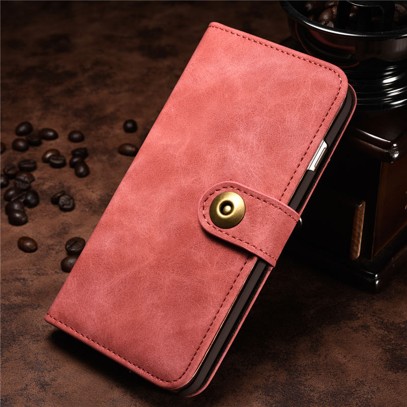 Luxus Retro Leder Fall für Brieftasche <font><b>iphone</b></font> 7 <font><b>8</b></font> 6 6 s Plus 6 Plus 5 5 s SE X XR <font><b>iphone</b></font> X XS max 2 in 1 Abnehmbare Magnet Flip-Cover image