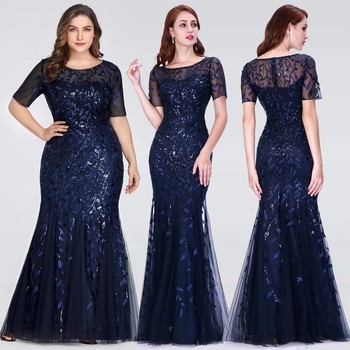 Formal Evening Dresses 2020 Ever Pretty New Mermaid O Neck Short Sleeve Lace Appliques Tulle Long Party Gowns Robe Soiree Sexy 2