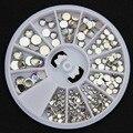MOONBIFFY decoração de Unhas Venda Hot Sale 5 Tamanhos Multicolor Branco Acrílico Nail Art Decoração Pedrinhas Glitter