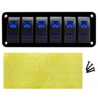 6 Rocker Switch Panel with Blue LED Light Circuit Breaker for Marine/car Waterproof IP67 Black durable solid aluminum panel