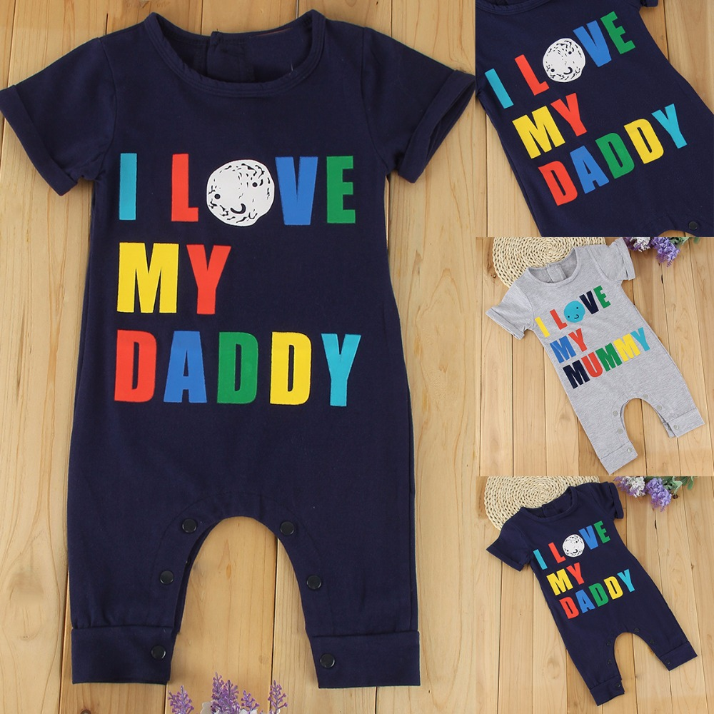 2017 Baby Boy Romper Summer Short Sleeve Cotton Jumpsuit Letter Printed Baby Rompers Overalls Newborn Baby Boy Girl Clothes 0-24 baby rompers cotton long sleeve baby clothing overalls for newborn baby clothes boy girl romper ropa bebes jumpsuit p10 m