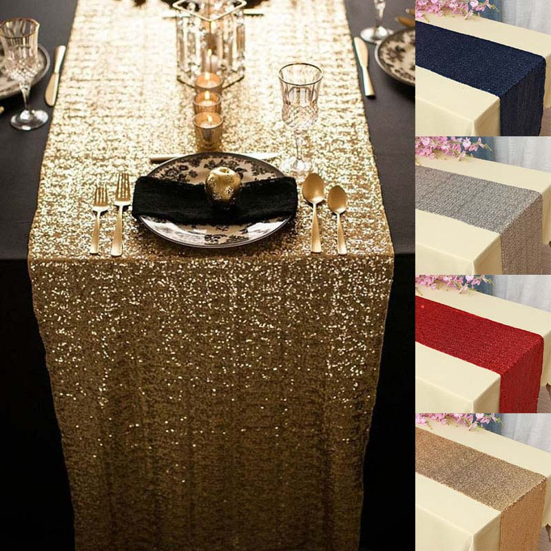 Sequin Table Runner Rose Gold/Silver/Navy/Pink/Red Color Luxury Style Wholesale For Wedding Hotel Dinner Party Decoration-in Table Runners from Home & Garden