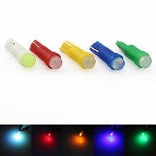 T5 led luz interior do carro dashboard gauge lâmpada 12 v dc 1 cob led cunha leitura bulbo branco amarelo verde azul vermelho 10 pçs