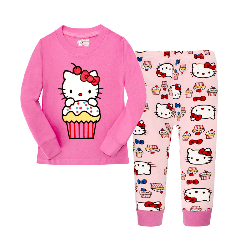 048e8a04e Child Penguin Kids Pajamas Hello Kitty Girls Pajama Set Cotton Clothing For Children  Pjs Cartoon Baby Clothes Girl Nighty Sets