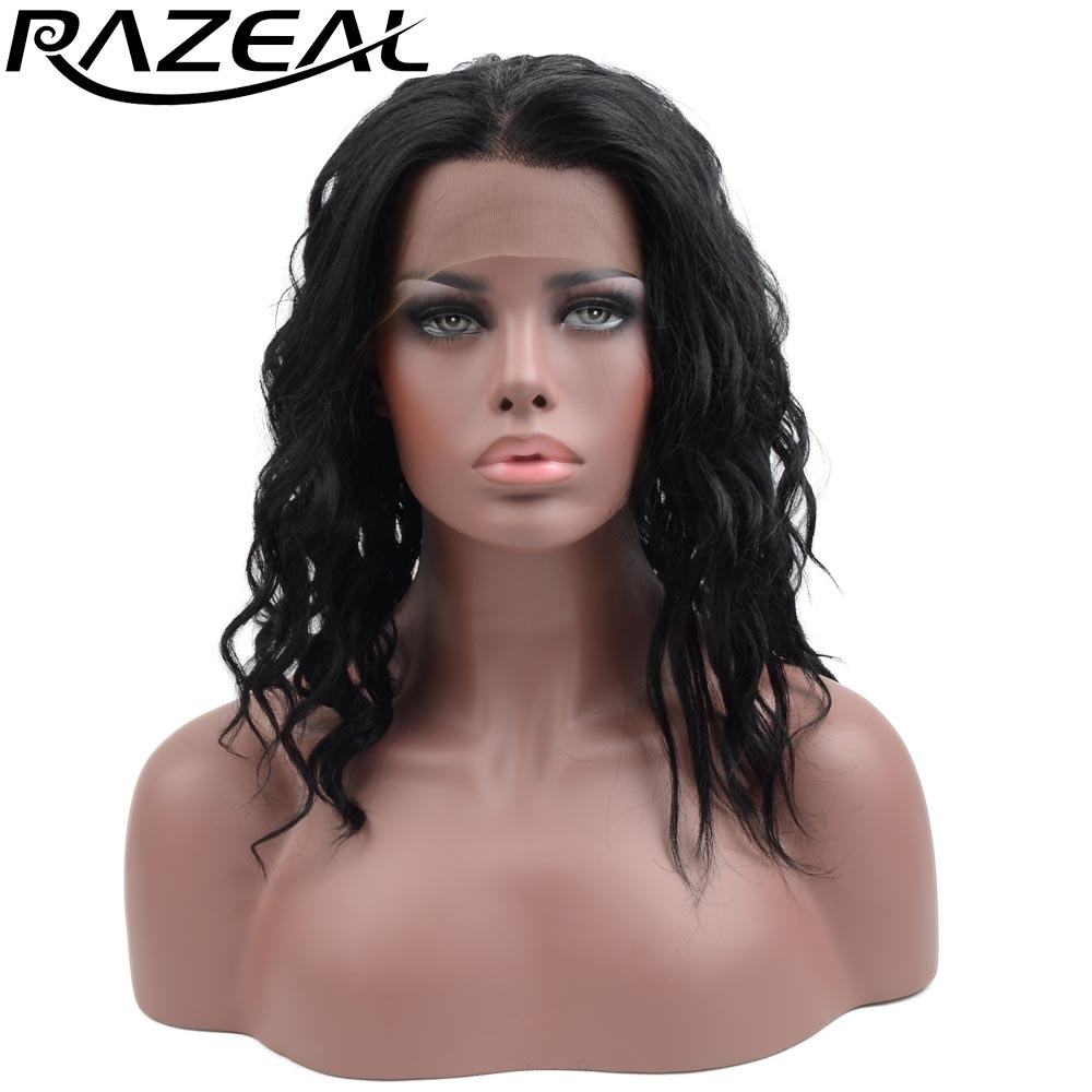 Razeal 12 Black Color Natural Deep Wave Synthetic Lace Front Wig Glueless Heat Resistant Hair High Temperature