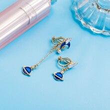 Fresh Style Clip on Earrings Star Moon Planet Wing Long Asymmetrical Enamel Earring Non Pierced For Girl Women Ear Clips Jewelry