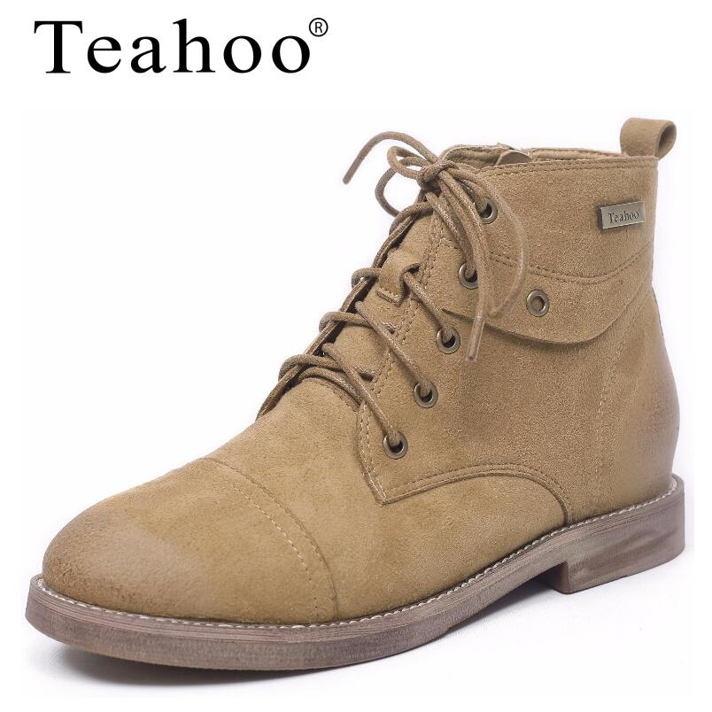 Teahoo 2017 Women Autumn Boots Suede Genuine Leather Ankle Boots Woman Flat with Round Toe Lace-Up Martin Boots Women's Shoes women s boots genuine leather ankle boots round toe lace up woman casual shoes with without fur autumn winter boots 568 6