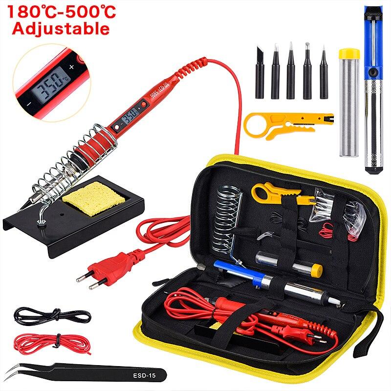 JCD kit de pistola para soldar temperatura ajustable 220V 80W LCD soldadura herramientas de soldadura calentador de cerámica puntas de soldadura bomba desoldadora