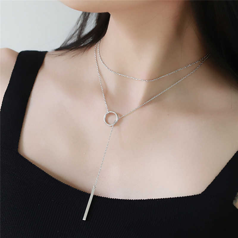 Stylish Wild Necklace Women Clothing Accessories Necklace Collarbone Chain High Quality Luxury Long Pendant Necklace  LX47 L0325